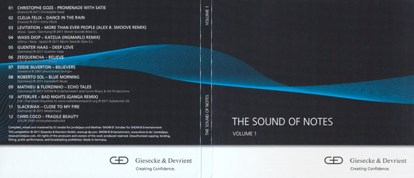 "CD compilation ""The Sounds of the Notes vol.1"" by DJ Jondal for Giesecke & Devrient"
